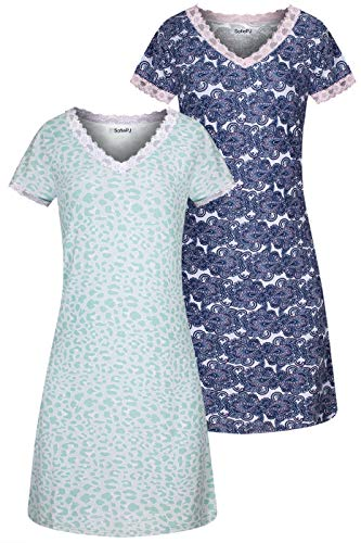 SofiePJ Women's Short Sleeve Lace Trim V Neck Nightgown 2PC Pack ASTD:Green,Navy M(43350) ()