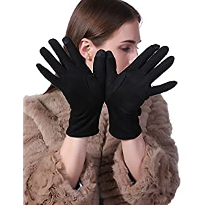 Women Winter Bowknot Gloves Touch Screen Thick Warm Windproof Adult Hand Outdoor Mittens Gloves (Fleece Lining) (BLACK)