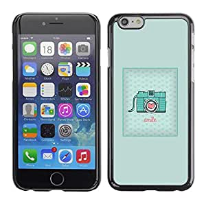 FECELL CITY // Duro Aluminio Pegatina PC Caso decorativo Funda Carcasa de Protección para Apple Iphone 6 // Teal Camera Love Photography Vintage Hipster
