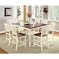 Furniture of America Pauline 9-Piece Cottage Style Pub Dining Set, Vintage White & Dark Oak Finish