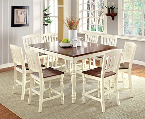 Furniture of America Pauline 9-Piece Cottage Style Pub Dining Set, Vintage White & Dark Oak Finish (White Dining Set 9 Piece)