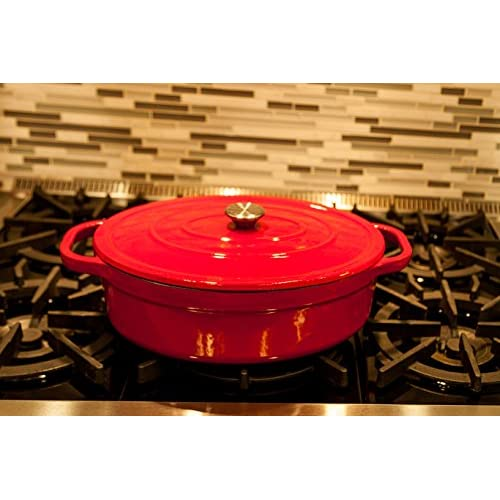 Useful UH-CI35 7 Quart Cast Iron Enamel Oval Covered Dutch Oven Casserole With Lid