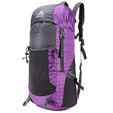 Mozone Large 40l Lightweight Travel Backpack/foldable & Packable Hiking Daypack (Purple)