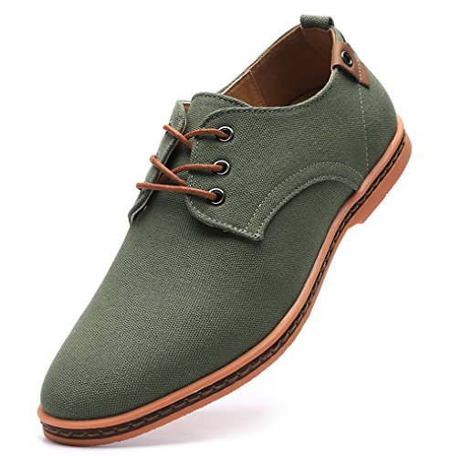 Canvas Lace Up Oxfords Shoes Green US Size 9.5 ()