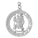 Rhodium-plated Silver 36mm Saint Christopher Pendant Necklace