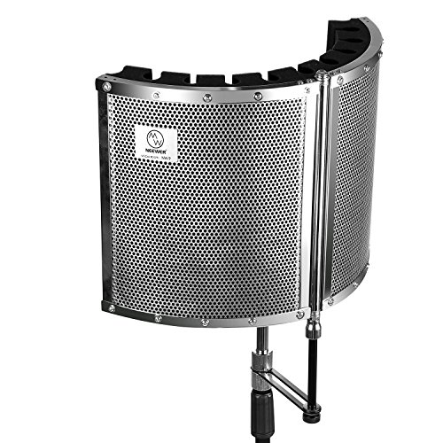 Neewer Foldable Microphone Acoustic Isolation Shield with Lightweight Metal Alloy, Acoustic Foams, Mounting Brackets and Screws for Mic Stand with 5/8