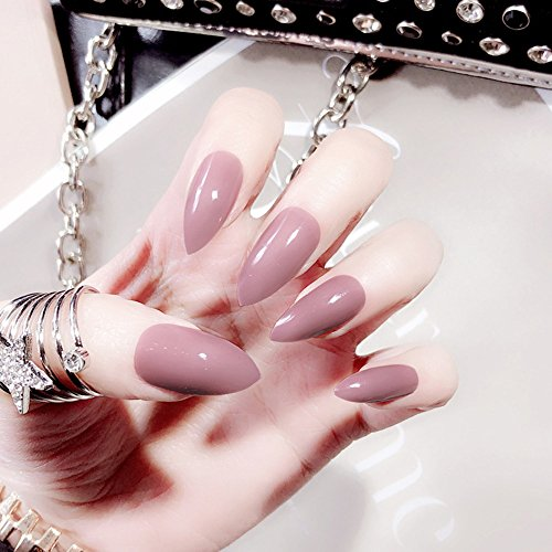 Biutee False Nail Tips 24 pcs Set Full Cover Long Sections False Nails French Manicure with Nail Glue (Pink)