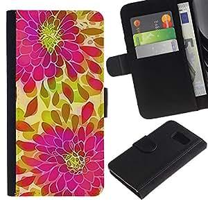 Billetera de Cuero Caso Titular de la tarjeta Carcasa Funda para Samsung Galaxy S6 SM-G920 / Petal Green Pink Purple / STRONG