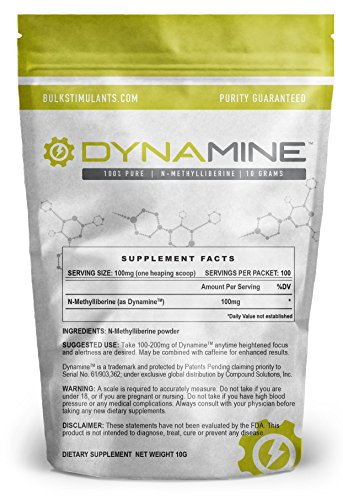 NEW!! Dynamine (N-Methylliberine) Bulk Powder – Fast Acting – Natural Energy Focus and Endurance – Similar to Theacrine TeaCrine with Faster Response – 10 Grams 100 Servings – SCOOP INCLUDED