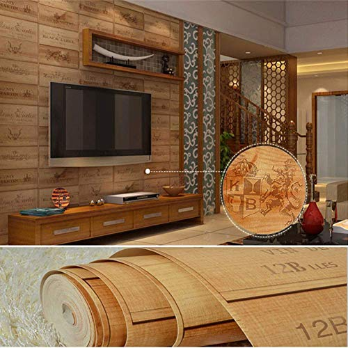 BAIF Persevering Melody - UB Wallpaper American Country Retro Oak Bar Coffee Shop Clothing Store Highend Restaurant PVC Engineering 0.53 M 10 M / 1.73 Ft 32.8 Ft (Stoves Country Oak &)