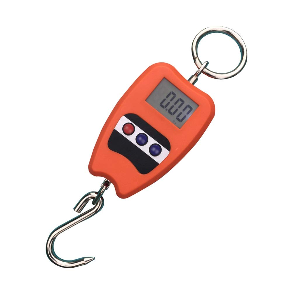 QL Digital Hanging Luggage Scale, Mini Hanging Scale Fishing Scale Portable Electronic Scale, with LCD Display, 200kg, high Precision Sensor Baggage Scale (Color : Orange)