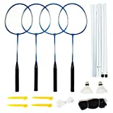 Crown Sporting Goods SBAD-001 Complete 4-Player Recreational Badminton Set with Carrying Case