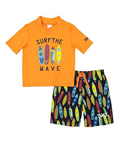 Surfboard Swim Trunks - Skechers Boys' Little Swim Suit Set with Trunks and Rashguard, Orange, 6