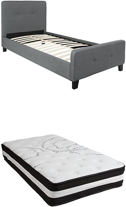 Flash Furniture Tribeca Twin Size Tufted Upholstered Platform Bed in Dark Gray Fabric with Pocket Spring Mattress