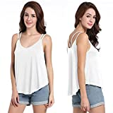 Miomi Clerance Womens Summer Flowy V Neck Strappy Loose Tank Tops Cami Basic Blouses (White, X-Large)