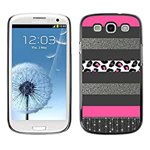 For SAMSUNG Galaxy S3 III / i9300 / i747 Case , Glitter Silver Pattern Pink Lines - Diseño Patrón Teléfono Caso Cubierta Case Bumper Duro Protección Case Cover Funda