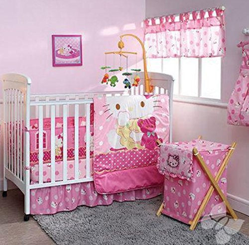 Hello Kitty Crib Bedding Set (Hello Kitty Caramelo 5 Piece Crib Bedding Set)