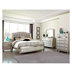 Bedroom Thaweesuk Shop Contemporary Style Glamorous Metallic Platinum 4 Piece Queen Size Mirrored Bedroom Furniture Set New Bed… modern bedroom furniture sets