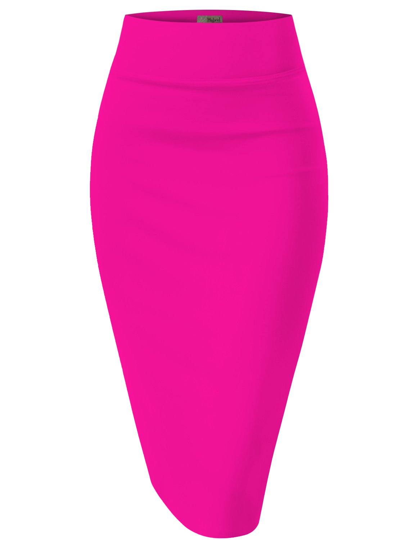 Womens Pencil Skirt For Office Wear KSK43584 1139 NeonPink M