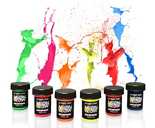 Neon Glow Paint Cosmic Bowling Themed Birthday Party Supplies – Create Blacklight Fluorescent Decorations, Activities, and Favors – Safe for the Skin & Other Surfaces - Set of 6 Colors