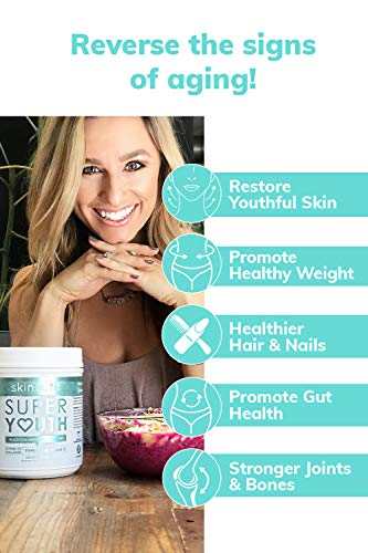 SkinnyFit Super Youth: 5 Types of Collagen Peptides, Hydrolyzed Powder Supplement for Joint & Bone Support, Glowing Skin, Strong Hair & Nails (58 Servings), Pasture Raised, Grass Fed, Cage Free by SkinnyFit (Image #1)