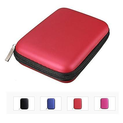 IHRKleid, estuche multi-función, bolsa, funda, carcasa rígida para discos duros externos portátiles de 6,4 cm, contra golpes y agua. negro rojo medium