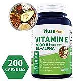 Best Vitamin E 1000 IU 200 Powder Caps (Non-Oily, Non-GMO & Gluten Free) – DL-Alpha Tocopherol – Antioxidant for Healthy Skin, Eyes & Hair – 100% Money Back Guarantee! Review
