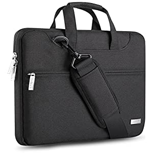 ZinMark 13-13.3 inch Water Resistant Multi Functional Protective Laptop Shoulder Bag with Handle & Strap, Oxford Fabric Messenger Bag with Storage Pockets for Business Travel,Black