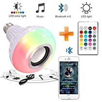 Smart LED Light Bulb Speaker, leegoal Changing Color Bluetooth 4.0 RGB Lamp Built-in Audio Speaker with Remote Control for Home, Bedroom, Living Room, Holiday Party Decoration