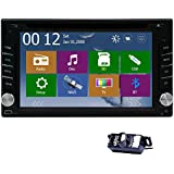 Free backup CAMERA Double din 6.2-Inch In-Dash Touchscreen Car stereo DVD player GPS navigation LCD Monitor support SD/AM-FM radio/Bluetooth Streaming GPS with USA/Canada/Mexico