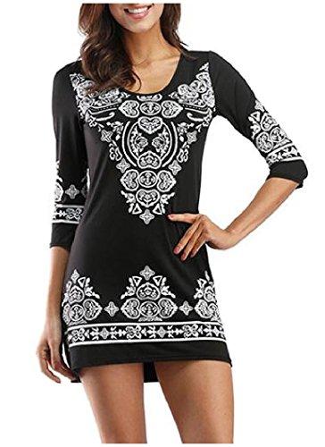 Longue Noix De Cajou Femme Manches Coolred Imprimé Mini Robe Moulante Mince Noir