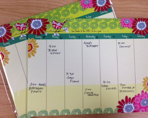 Sparrow Flowers Magnetic Weekly Calendar Pad with Scripture by Gina B (Image #1)