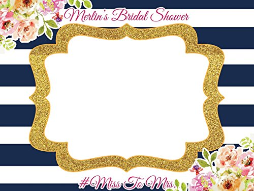 Custom Floral Bridal Shower Photo Booth Frame - Sizes 36x24, 48x36; Personalized Bridal Shower Decorations, Wedding photo booth prop, Handmade Party Supply Photo Booth Props from speedyorders