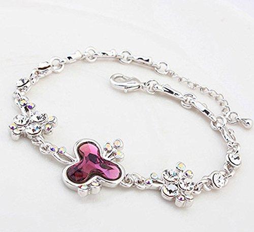 Swarovski Elements Crystal Purple Trend Creative Chain Link Charm Bracelet White Gold Plated