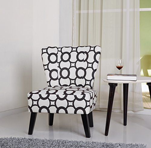 US Pride Furniture Cora Patterned Fabric Covered Accent Chair, Black Circles