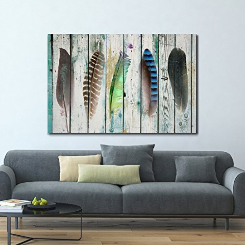 ARTLAND Giclee Canvas Prints 24x36-inch 'Feather Tales ' 1-Piece Gallery-Wrapped Abstract Painting on Canvas Wall Art Set ()