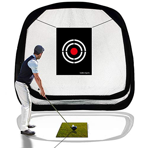 Galileo Golf Hitting Net Golf Training Aid Golf Nets for Backyard Driving Indoor Use Pop Up Driving Nets with Target for Practice Chipping Golfing Netting Indoor Outdoor Sports 8'(L)X8'(H)X3'(W)