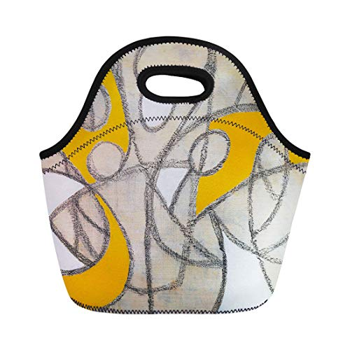 Semtomn Lunch Bags Yellow Retro Black Modern Abstract Painting White Charcoal Appealing Neoprene Lunch Bag Lunchbox Tote Bag Portable Picnic Bag Cooler Bag