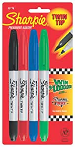 Sharpie 32174-SH Twin Tip 4 Pack (Red,Blue,Green, and Black)