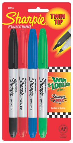 n Tip 4 Pack (Red,Blue,Green, and Black) (Twin Tip Fine Point)