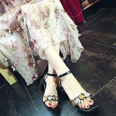 LvYuan Mujer Sandalias Confort Goma Verano Confort Hebilla Tacón Robusto Negro Rosa Menos de 2'5 cms blushing pink