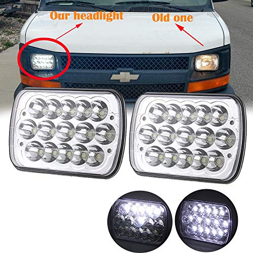 AMUNIESUN 2PC 45w Rectangle 7x6 5x7 Led Headlights 6052 6054 H5054 H6054 Hi/Low Sealed Beam Replacement For Chevy Express Cargo Van 1500 2500 3500 Jeep Wrangler Toyota Pickup Dodge Ram Ford F250 E350 ()
