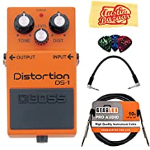 Boss DS-1 Distortion Guitar Effects Pedal Bundle with Gearlux Instrument Cable, Patch Cable, Picks, and Polishing Cloth