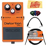 : Boss DS-1 Distortion Bundle with Instrument Cable, Patch Cable, Picks, and Austin Bazaar Polishing Cloth