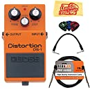 Boss DS-1 Distortion Bundle with Instrument Cable, Patch Cable, Picks, and Austin Bazaar Polishing Cloth