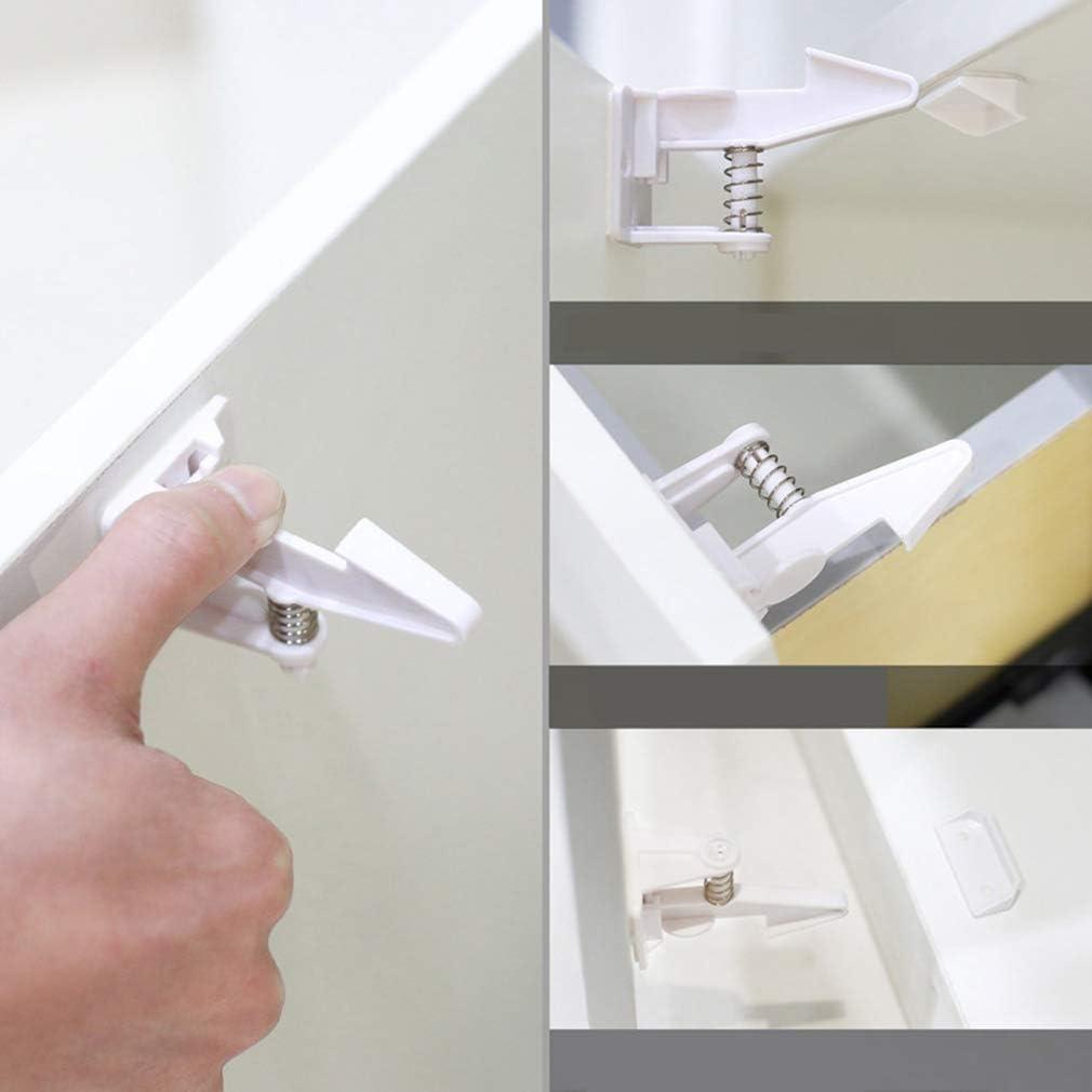 Kangcheng 10 Pack Child Safety Cabinet Locks Baby Proofing Cabinets Locks No se necesitan herramientas de perforaci/ón Locks para armarios de cocina closets gabinetes cajones