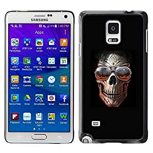 Colorful Printed Hard Protective Back Case Cover Shell Skin for Samsung Galaxy Note 4 IV / SM-N910F / SM-N910K / SM-N910C / SM-N910W8 / SM-N910U / SM-N910G ( Rock Skull Black Metal Shades Cool Hell )