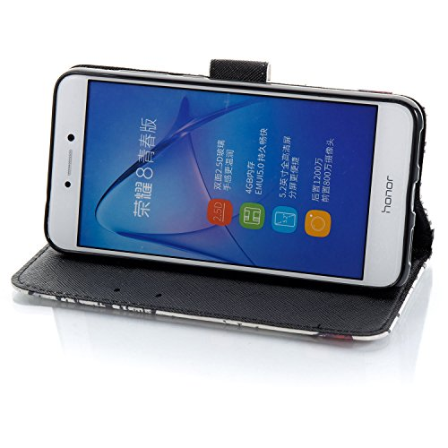Huawei P8 Lite 2017 Leder Hülle Bookstyle Ledertasche, Aeeque Luxuriös 3D Glitzer Bling [Einfach Weiß Marmor Stil] Kartenfächer Standfunktion Brieftasche Handytasche für Huawei P8 Lite (2017) 5.2 Zoll 3D Bunte Muster #41