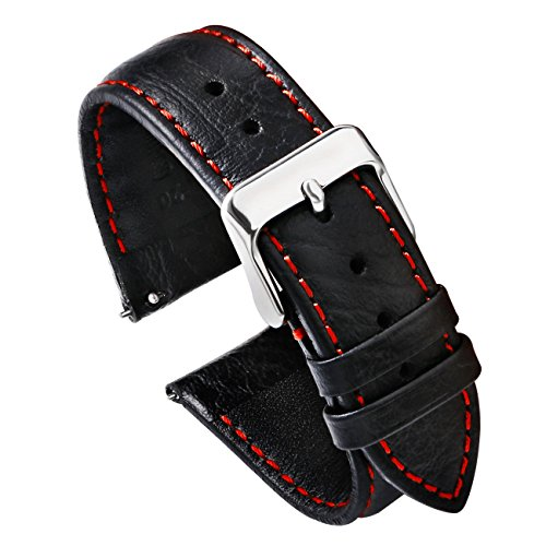 Black Red Leather - PBCODE Watch Strap Quick Release Watch Band Leather Watch Strap 20mm Replacement for Watches and Smartwatches - Black (Red Stitching) Soft