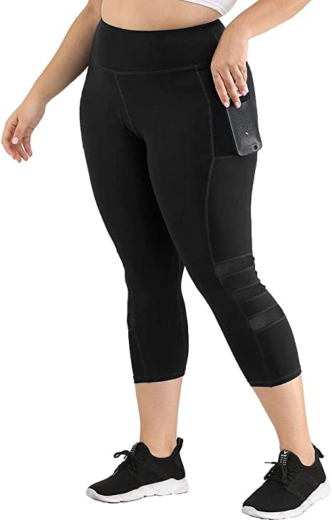 Uoohal Womens Plus Size Active Leggings High Waist Yoga Pants with Pocket Tummy Control Running Workout Athletic Legging